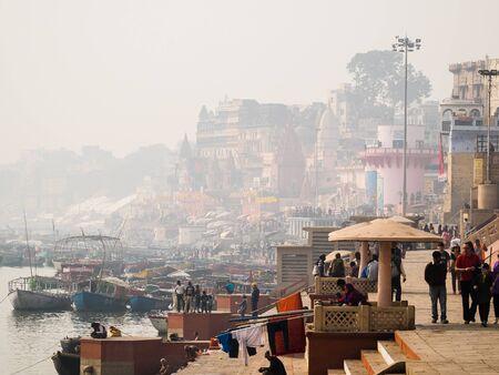 varanasi: Varanasi, India - Circa January 2016 - ghats of varanasi