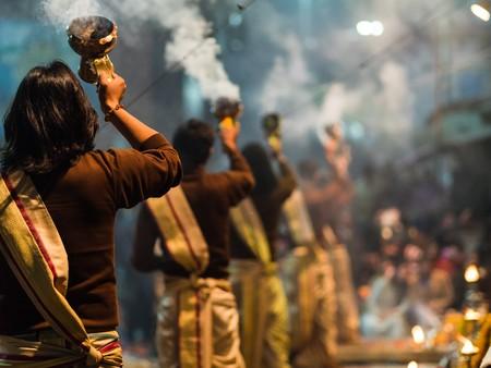 varanasi: Varanasi, India - Circa January 2016 - Ganga aarti in Varanasi Editorial