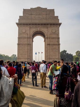 india gate: Delhi, India - Circa January, 2016 - many tourists at india gate in new delhi