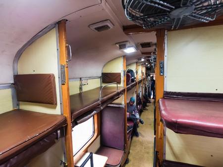 sleeper: Delhi, India - Circa January, 2016 - Inside the sleeper class of an Indian train
