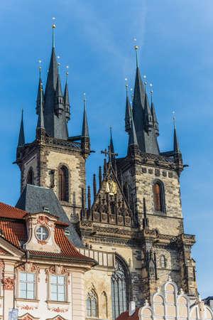 tynsky church: Prague, Czech - November 13, 2015 - church of our lady before tin in prague