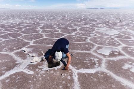 uyuni Salt Flats, bolivia - circa march 2015 - digging for salt crystals in the uyuni