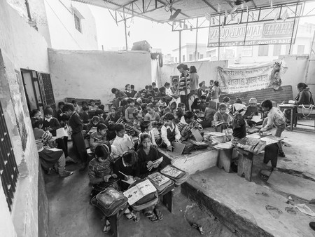 Agra, India - Circa January 2016 - Inside a primary school in India Editorial