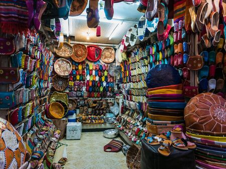 sop: Marrakesh, Morocco - September 16, 2015 - inside a moroccan shoe and bag sop