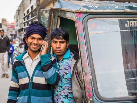 locals: agra, India - Circa January 2016 - locals posing in agra