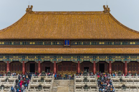 masses: beijing, China - Circa April 2016 - tourist masses in the forbidden city Editorial