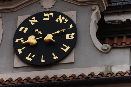 jewish quarter: Church clock in the jewish quarter of Prague Stock Photo