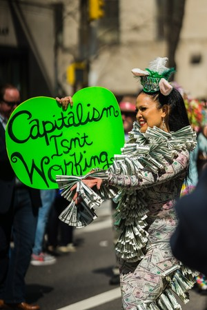 occupy wall street: new york, usa - circa march 2016 - parade against capitalism