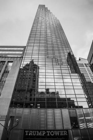 new York, USA - Circa March 2016 - details of the trump tower Редакционное