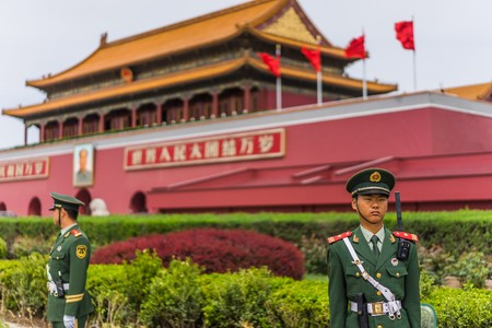 soldiers: beijing, China - Circa April 2016 - guards in front of the forbidden city Editorial