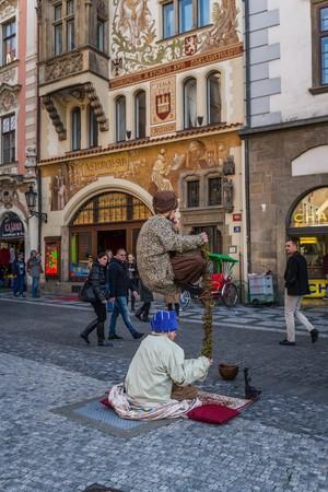 slums: Prague, Czech - November 16, 2015 - Street artists in Prague Editorial