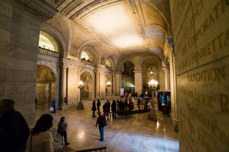 new York, USA - Circa March 2016 - inside the new york public library