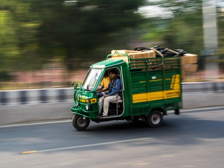 auto rickshaw: Agra, India - Circa January 2016 - moving tuk tuks in india Editorial