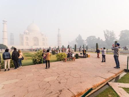 love dome: Agra, India - Circa January 2016 - Tourists Visiting the Taj Mahal in Agra