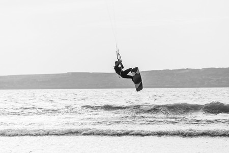 essaouira, Morocco - Circa September 2015 - kite surfer at the beach