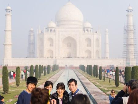 love dome: agra, India - Circa January 2016 - Tourists Visiting the Taj Mahal in Agra Editorial