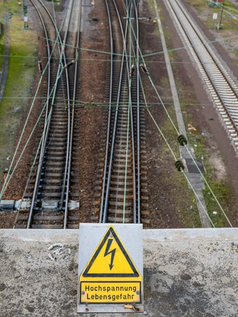 heidelberg, Germany - February 26, 2016 - warning sign at the rails