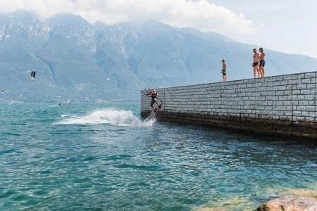 riva del Garda, Italy - Circa September 2016 - kite surfer on lake garda