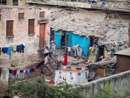 slums: Delhi, India - December 27, 2015 - View on a rather poor area of DElhi Editorial