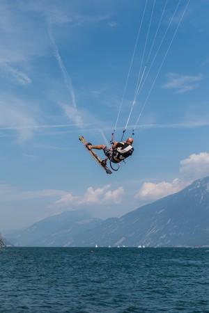kiteboarding: riva del Garda, Italy - Circa September 2016 - kite surfer on lake garda