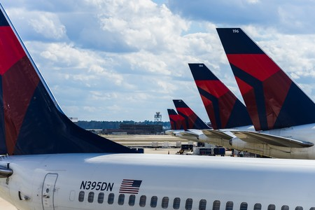 Atlanta, USA - Circa March 2016 - Delta airlines airplanes on the ground Editorial