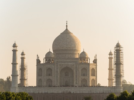 view from mehtab bagh to taj mahal Stock Photo