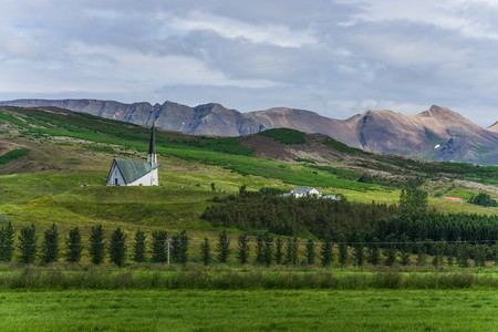 Lonesome church in Iceland Stock Photo