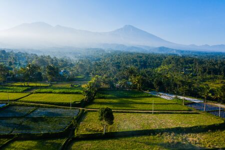 Drone view on Mt Rinjani in Lombok