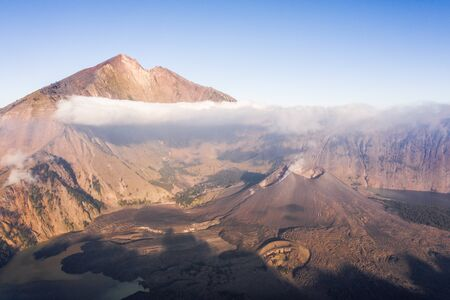 mount rinjani from an aerial perspective