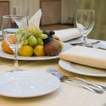 Table with fruits prepared for dinner in restaurant Stock Photo - 3423148