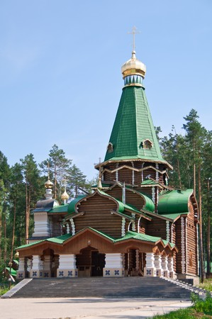 urals: Wooden orthodox church in Russia, Urals shot in direct sunlight