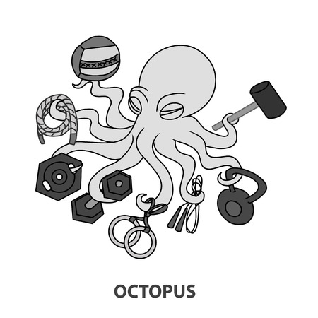 robustness: Crossfit octopus with throw, rope, plate, dumbbell, gymnastic rings, skipping rope, kettlebel, hammer. Illustration