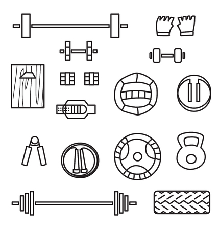 Set of crossfit gym equipment line icons of dumbbell, gymnastics grips ,dumbbells, fitball, jump rope, weight lifting, med ball and tire. Line icon set.  Crossfit training tools.