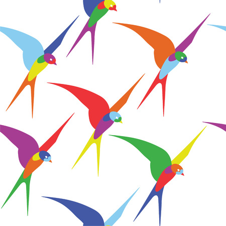 swallows: colorful swallows seamless pattern Illustration