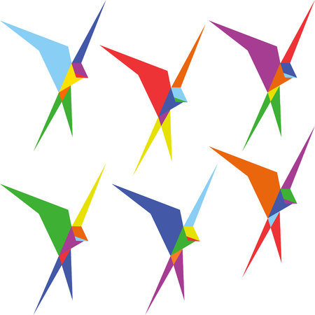 swallows: low poly swallows pattern