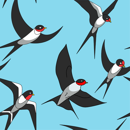 swallows: swallows on blue background. seamless pattern