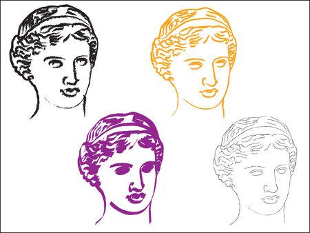 afrodite: Capo della dea Afrodite in vari stili Vettoriali