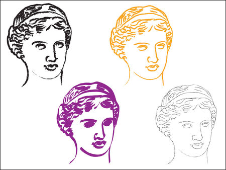 Head of goddess Aphrodite in various styles
