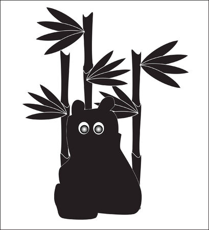 background for your needs with illustration of black funny panda sitting in bamboo Vector