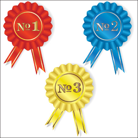 Isolated red, blue and yellow symbols of competition winners Vector