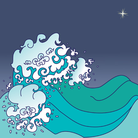 Background with sea waves in japanese style and place for your text Vector