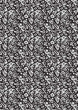 Seamless hand drawn geometric black and white pattern for your use and needs