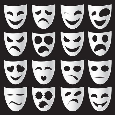 Geïsoleerde theater maskers uitdrukken van verschillende emoties