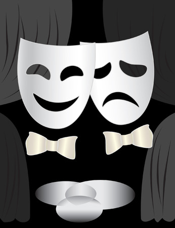 Black and white background with theatre stage, curtains and masks