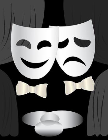 Zwart-wit achtergrond met theater podium, gordijnen en maskers Vector Illustratie
