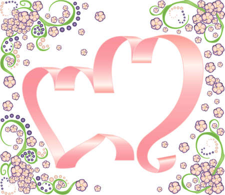 two pink ribbon hearts with beautiful floral decor elements on a white background Illustration