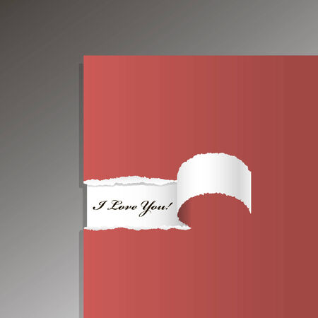 color separation: original red card with a teared piece and love message