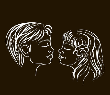 hand drawn and artistic illustration of a first loving teenage kiss on black