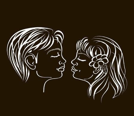 the first love: Ilustraci�n dibujado y art�stica de un primer beso amoroso de adolescente en negro de mano