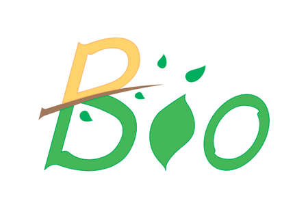 isolated bio logo for your use and needs with hand drawn script, branch, leaves